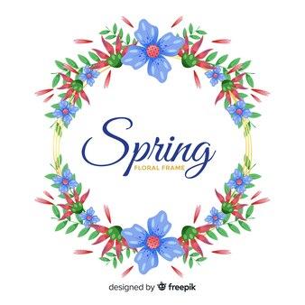 手描きフローラルリース春の背景