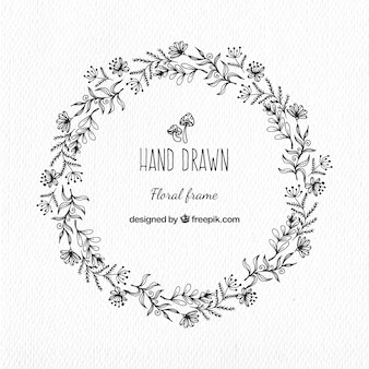 Hand-drawn floral wreath in vintage style