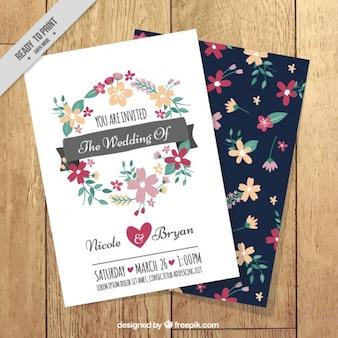 Hand drawn floral wreath wedding card