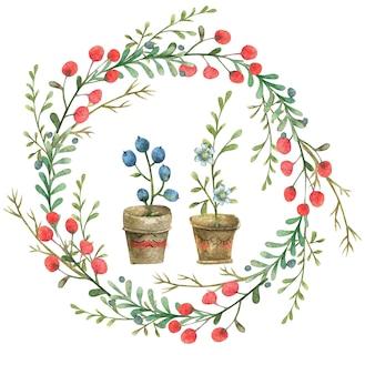 Ручной обращается цветочный венок с милыми цветами в горшках