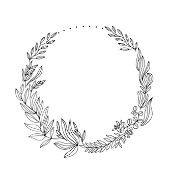Hand drawn floral wreath with dots