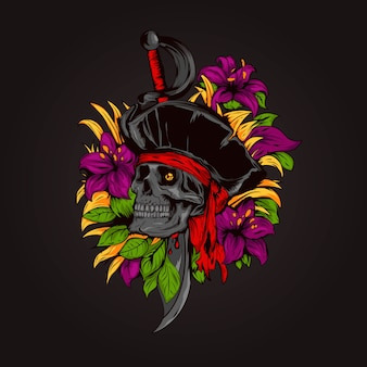 Hand drawn floral wreath with pirate skull