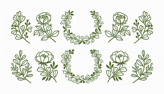 Hand drawn floral wreaths and botanical element collection