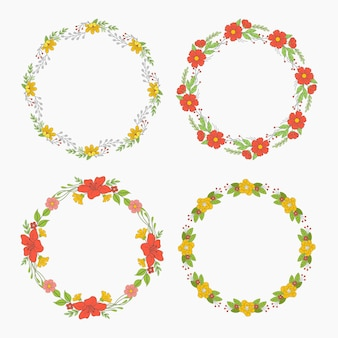 Коллекция рисованной цветочные венки