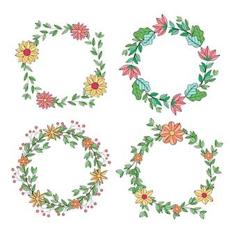 Collezione di ghirlande floreali disegnate a mano