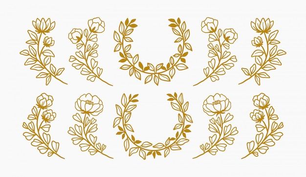 Hand drawn floral wreaths and flower element collection