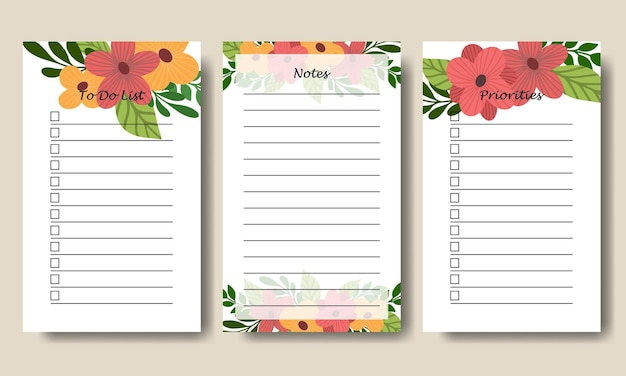 Hand drawn florals bouquet notes to do list template printable