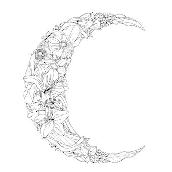 Ручной обращается цветок и листья в форме полумесяца