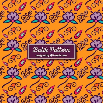 Hand drawn flower batik pattern