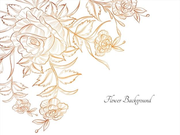 Hand drawn flower bright sketch design background vector