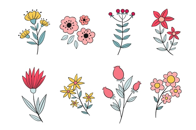 Hand drawn flower collection