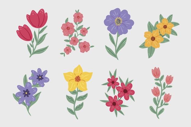 Коллекция рисованной цветов