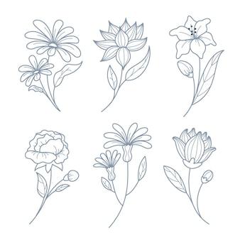 손으로 그린 된 꽃 모음 무료 벡터