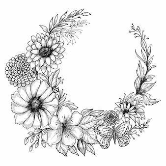 手描きの花の装飾的なスケッチフレームデザイン