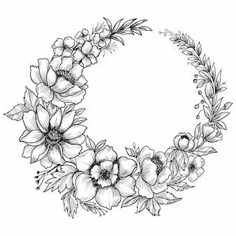 손으로 그린 꽃 장식 스케치 프레임 디자인