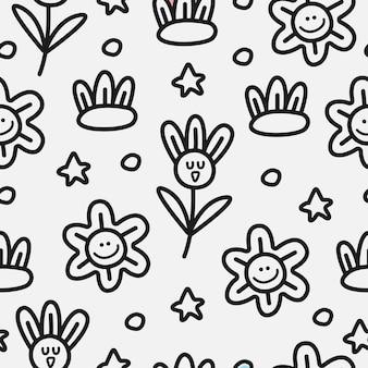 手描き花落書きパターンデザイン