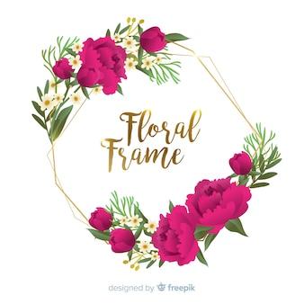 Hand drawn flower frame background