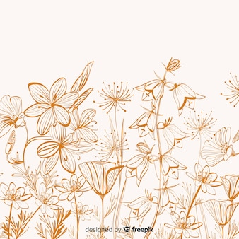 Hand drawn flower and leaves background