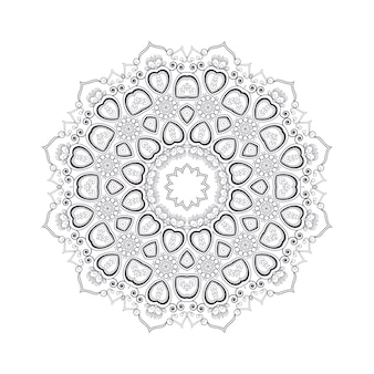 Hand drawn flower mandala for coloring book. black and white ethnic henna pattern. indian, asian, arabic, islamic, ottoman, moroccan motif.
