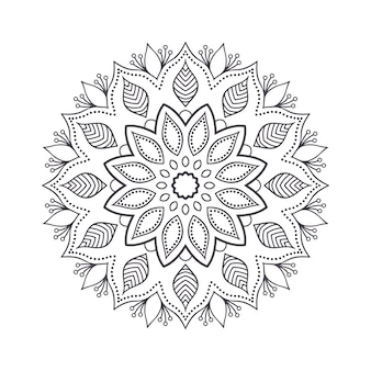 Hand drawn flower mandala for coloring book.