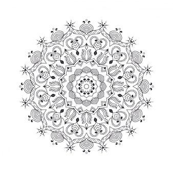 Hand drawn flower mandala for coloring book.