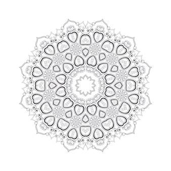 塗り絵の手描き花曼荼羅。黒と白の民族のヘナ柄。インド、アジア、アラビア、イスラム、オットマン、モロッコのモチーフ。