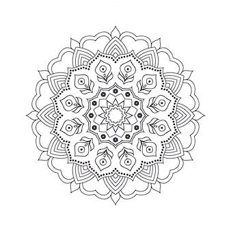 塗り絵の手描き花曼荼羅。