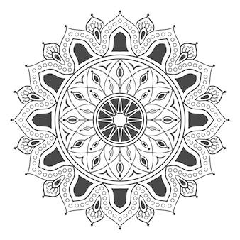 색칠하기 책에 대한 손으로 그린 꽃 만다라