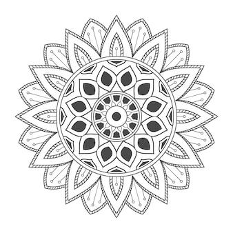 색칠 페이지에 대한 손으로 그린 꽃 만다라