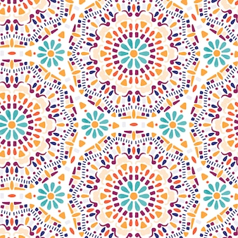 Hand drawn flower mandala seamless pattern