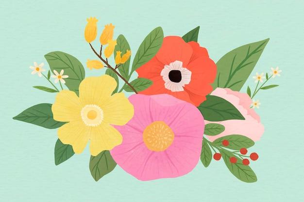 손으로 그린 꽃 패턴 배경