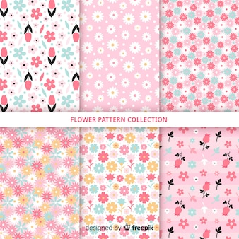 Hand drawn flower pattern collection