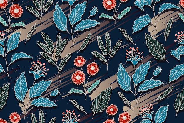 Hand drawn flower seamless pattern with brush background