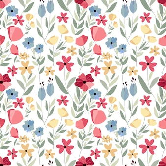 Hand drawn flower seamless pattern with white background