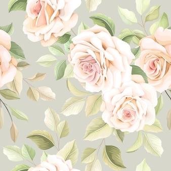 손으로 그린 된 꽃 원활한 패턴