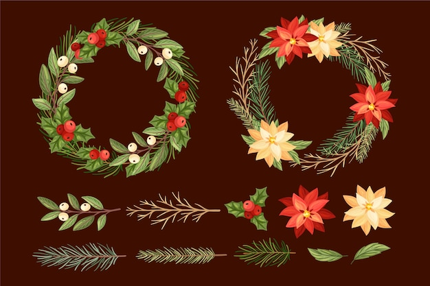 Hand drawn flower and wreath assortment of christmas decorations