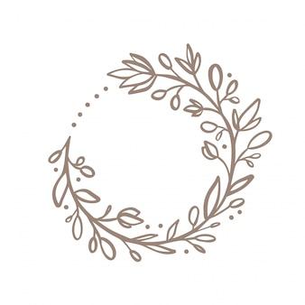 手描きの花の花輪のロゴ。招待状の花柄春フレーム要素