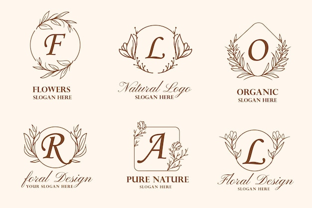 Hand drawn flower wreath logo illustration collection for beauty, natural, organic brand