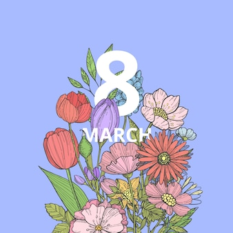 Hand drawn flowers 8 march in bouquet illustration