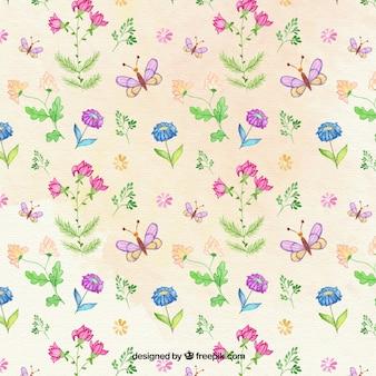 손으로 그린 꽃과 나비 패턴