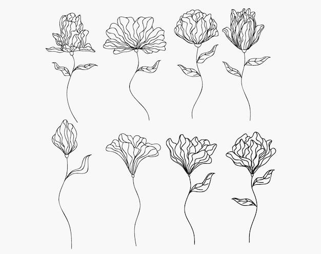 손으로 그린 꽃과 허브를 분리합니다.