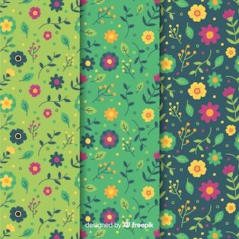 手描きの花と葉のパターンセット
