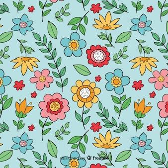 손으로 그린 꽃과 잎