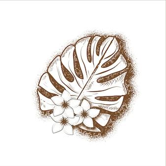 手描きの花と白い背景に熱帯の葉