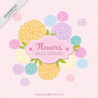 パステルカラーで手描きの花が背景
