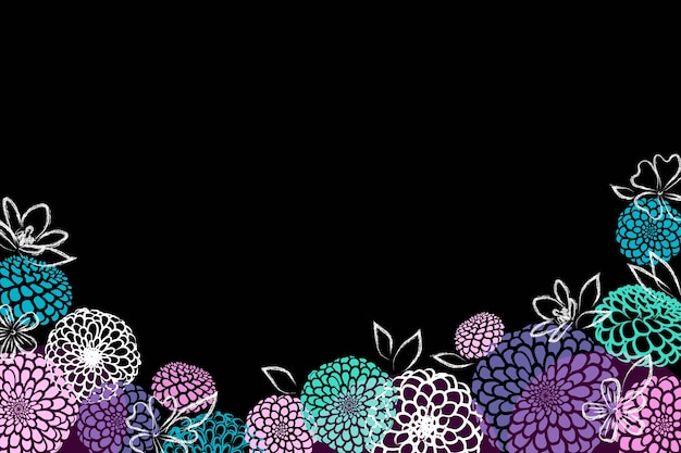 Hand drawn flowers on black background