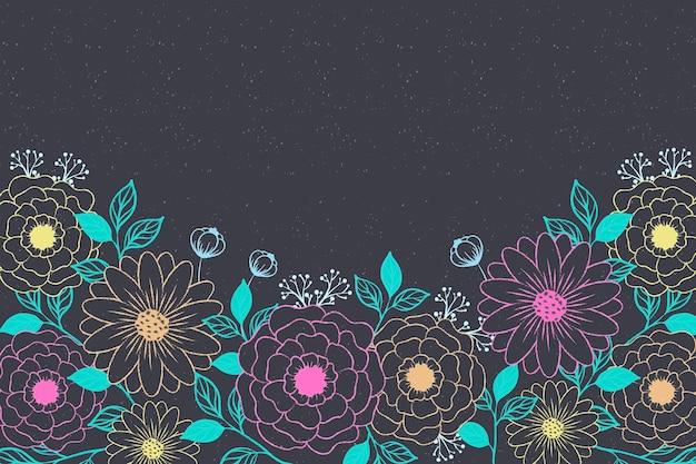 Hand drawn flowers on blackboard background