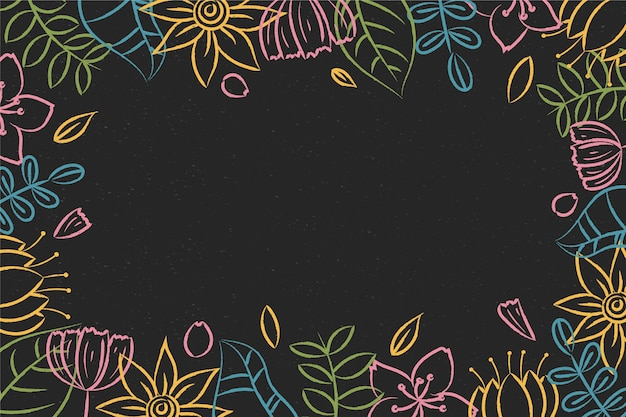Hand drawn flowers on blackboard background