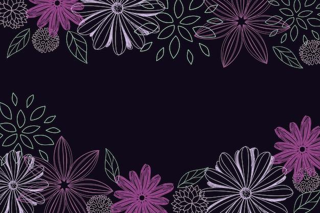 Hand-drawn flowers on blackboard background