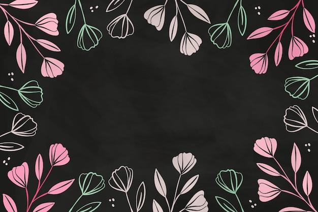 Hand drawn flowers on blackboard wallpaper